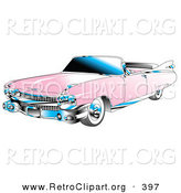 Retro Clipart of a Restored Pink Convertible 1959 Cadillac Car with Chrome Accents and the Top down by Andy Nortnik