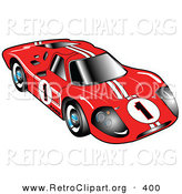 Retro Clipart of a Restored Red 1967 Ford Mark IV GT40 Racing Car with White Stripes and the Number 1 by Andy Nortnik