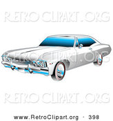 Retro Clipart of a Restored White and Chrome 1967 Chevrolet SS Impala Muscle Car by Andy Nortnik