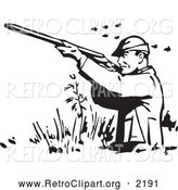 Retro Clipart of a Retro Black and White Hunter Wading and Shooting at Ducks by BestVector