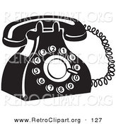 Retro Clipart of a Retro Black and White Rotary Landline Telephone by Andy Nortnik