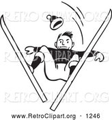Retro Clipart of a Retro Black and White Skier Man Catching Air and Looking down by BestVector