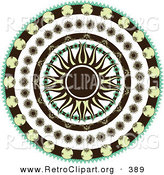 Retro Clipart of a Retro Black and Yellow Sun in the Center of a Circle of Floral Patterns over a Solid White Background by Elaineitalia