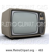 Retro Clipart of a Retro Box Television by KJ Pargeter
