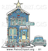 April 2nd, 2013: Retro Clipart of a Retro Car Covered in Snow Outside a Victorian House Decorated in Christmas Lights at 2365 Main Street Retro by Andy Nortnik