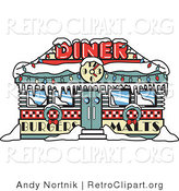 Retro Clipart of a Retro Diner in Snow, Decorated in Christmas Wreaths and Lights at Christmastime by Andy Nortnik