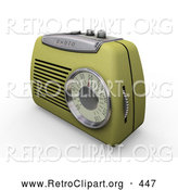 Retro Clipart of a Retro Greenish Yellow Old Fashioned Radio with a Station Dial, on a White Surface by KJ Pargeter