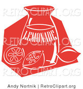 Retro Clipart of a Retro Jar of Lemonade and a Sliced and Whole Lemon Resting on the Counter by Andy Nortnik