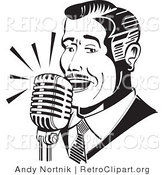 Retro Clipart of a Retro Man Singing or Announcing into a Microphone by Andy Nortnik