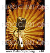 Retro Clipart of a Retro Microphone over a Bursting Orange Striped Background with Grunge Splatters by KJ Pargeter