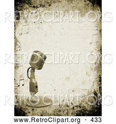 Retro Clipart of a Retro Microphone over a Grunge Background Bordered by Music Notes by KJ Pargeter