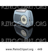 Retro Clipart of a Retro Old Fashioned Blue Radio with a Station Dial, on a Reflective Black Surface by KJ Pargeter
