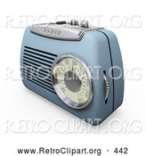 Retro Clipart of a Retro Old Fashioned Blue Radio with a Station Dial, on a White Surface by KJ Pargeter