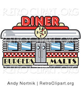 Retro Clipart of a Retro Old Fashioned Diner Building with a Clock on It and Signs Advertising Burgers and Malts by Andy Nortnik