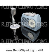 Retro Clipart of a Retro Old Fashioned Microphone and Blue Radio on a Reflective Black Surface by KJ Pargeter