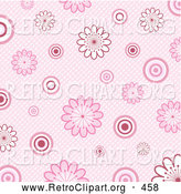 Retro Clipart of a Retro Old Fashioned Pink Background of White and Pink Flowers and Circles over a Weaved Texture by KJ Pargeter