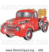 Retro Clipart of a Retro Red 1945 Ford Pickup Truck with a Spacfe Tire on the Side And, Chrome Accents, Red Wall Tires and Wooden Panels Along the Truck Bed by Andy Nortnik