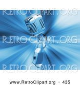 Retro Clipart of a Retro Silver Microphone over a Blue Bursting Background by KJ Pargeter
