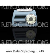 Retro Clipart of a Retro Vintage Blue Radio Box on a Reflective Black Surface by KJ Pargeter