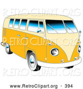 Retro Clipart of a Retro Yellow 1962 VW Bus with Chrome Detail and a Pale Yellow Roof and Accents by Andy Nortnik