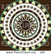 Retro Clipart of a Retro Yellow and Black Pointed Sun in the Center of Circles of Black, Yellow, and Green Floral Patterns over a Patterned Brown Background by Elaineitalia