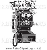 Retro Clipart of a Ringing Black and White Wall Telephone with Text by Andy Nortnik