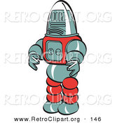 Retro Clipart of a Robot Toy Looking to the Left by Andy Nortnik