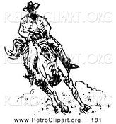 Retro Clipart of a Roper Cowboy on a Horse, Kicking up a Cloud of Dust by Andy Nortnik