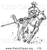 Retro Clipart of a Roper Cowboy on a Horse, Using a Lasso to Catch a Cow or Horse and Riding Right by Andy Nortnik