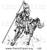 Retro Clipart of a Roper Cowboy on a Horse, Using a Lasso to Catch a Cow or Horse While Riding a Rodeo by Andy Nortnik