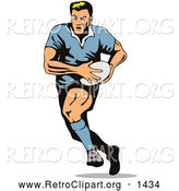 Retro Clipart of a Rugby Football Player Running by Patrimonio