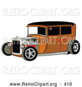 August 5th, 2013: Retro Clipart of a Rust Brown Vintage Rat Rod Car with a Black Roof, Red Accents and Chrome Wheels on White by Andy Nortnik
