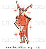 Retro Clipart of a Sexy Woman in a Tight Red Dress, Gloves and Tall Boots and Forked Devil Tail, Dancing While Drinking at a Party by Andy Nortnik