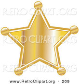 Retro Clipart of a Shiny Golden Star Shaped Sheriff's Badge by Andy Nortnik