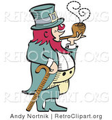 Retro Clipart of a Short, Red Haired Leprechaun Leaning on a Cane and Smoking a Pipe by Andy Nortnik