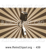 Retro Clipart of a Silver Vintage Microphone over a Bursting Brown and Tan Background by KJ Pargeter