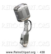 Retro Clipart of a Silver Vintage Microphone with a Switch, on a White Background by KJ Pargeter