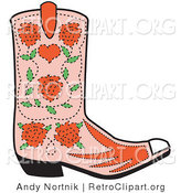 Retro Clipart of a Single Pink Cowgirl Boot with a Pattern of Red Roses by Andy Nortnik