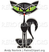 Retro Clipart of a Sitting Black Siamese Cat with Big Green Eyes by Andy Nortnik