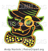 Retro Clipart of a Smiling Black Cat Wearing a Hat and a Bow and a Monacle over His Eye by Andy Nortnik