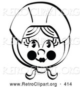Retro Clipart of a Smiling Pretty Female Pilgrim with Flushed Cheeks, Wearing a Bonnet over Her Hair by Andy Nortnik
