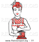 Retro Clipart of a Smiling Red Haired Housewife or Maid Woman Facing Front and Smiling While Using a Manual Coffee Grinder by Andy Nortnik