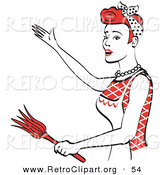 Retro Clipart of a Smiling Red Haired Housewife or Maid Woman Wearing an Apron While Singing and Dancing and Using a Feather Duster by Andy Nortnik