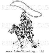 Retro Clipart of a Sporty Roper Cowboy on a Horse, Using a Lasso to Catch a Cow or Horse by Andy Nortnik