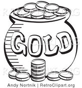 Retro Clipart of a Stack of Coins near a Cauldron of Leprechaun's Gold, Black and White by Andy Nortnik