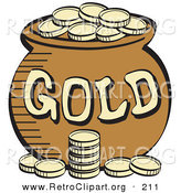 Retro Clipart of a Stack of Gold Coins in Front of a Pot of Leprechaun's Gold on White by Andy Nortnik