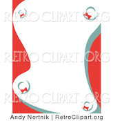Retro Clipart of a Stationery Background with Holiday Wreaths by Andy Nortnik