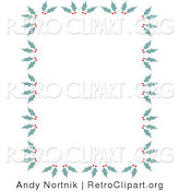 Retro Clipart of a Stationery Border of Holly and Berries for Christmas by Andy Nortnik