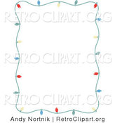 Retro Clipart of a Stationery Frame of Colorful Holiday Lights Bordering a White Background by Andy Nortnik