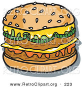 Retro Clipart of a Tasty Double Cheeseburger with Two Meat Patties and Melty CheeseTasty Double Cheeseburger with Two Meat Patties and Melty Cheese by Andy Nortnik